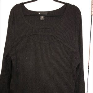 Black sparkly sweater w/cut out detail